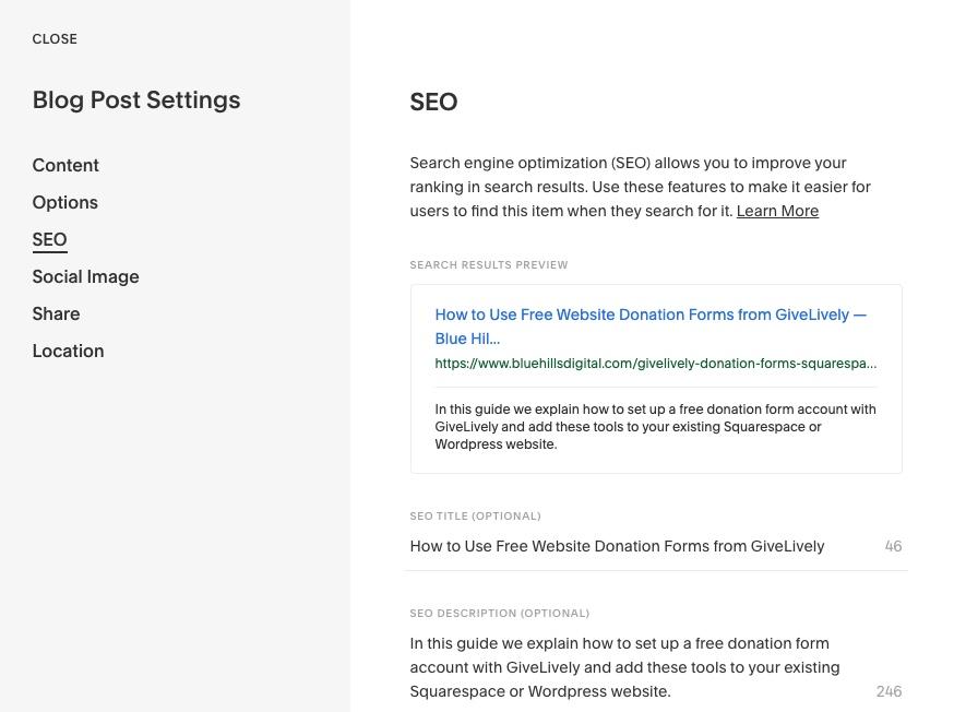 Blog Post SEO Title Squarespace 7.1